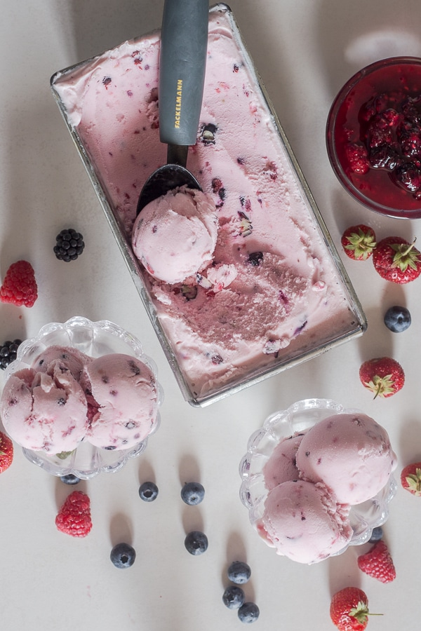 frozen yogurt in metal loaf pan and in a glass bowl
