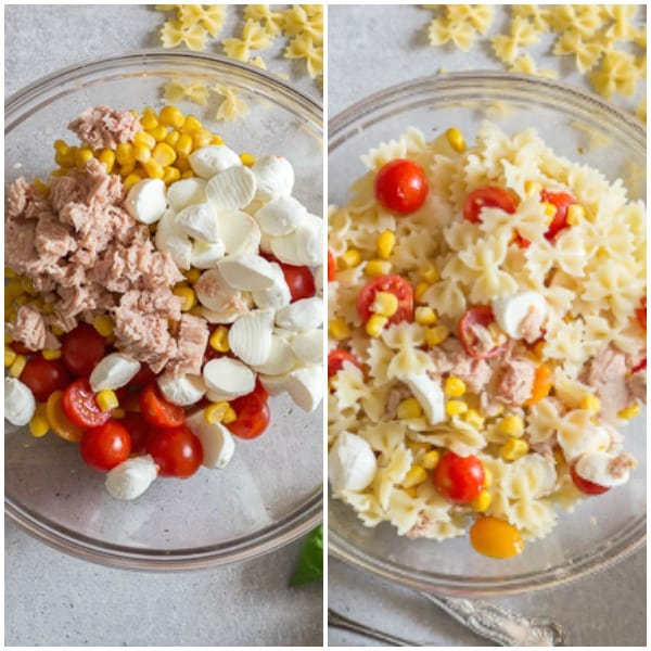pasta salad how to make ingredients in a glass bowl and pasta added