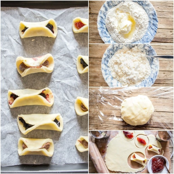 pizzicati cookies how to make, make the dough, roll out circles, fill with jam pinch together dough
