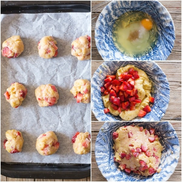 strawberry cookies how to make raw dough and shaped cookies