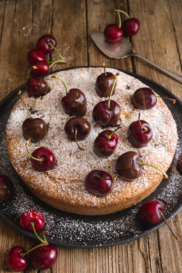 cherry topped cherry cake