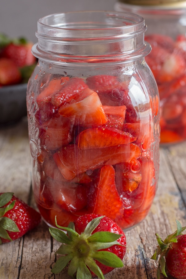 freeze strawberries in a jar
