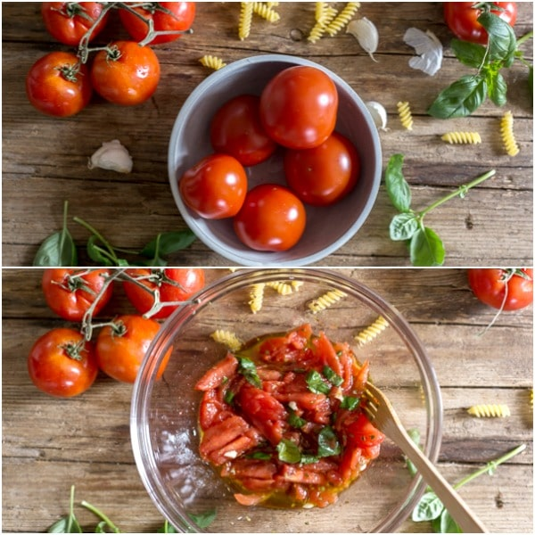 how to make tomato pasta salad tomatoes, and sliced tomatoes in a bowl