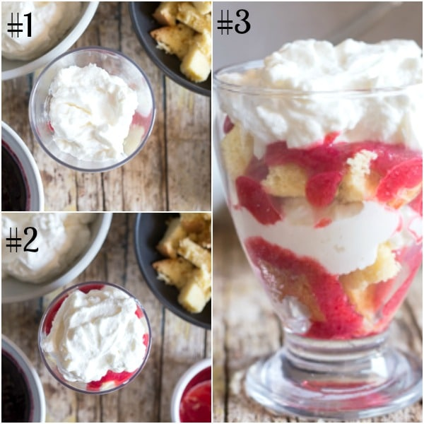 cheesecake parfait how to make, putting it together, finished in a glass