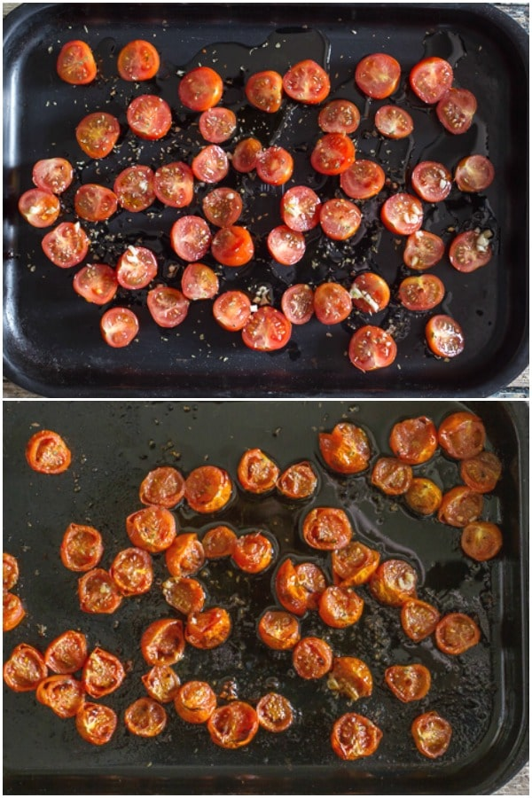 greek pasta salad how to make roasted tomatoes before and after
