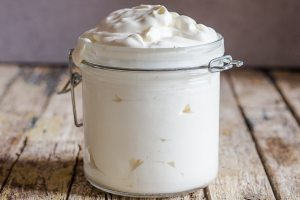 mascarpone in a glass jar