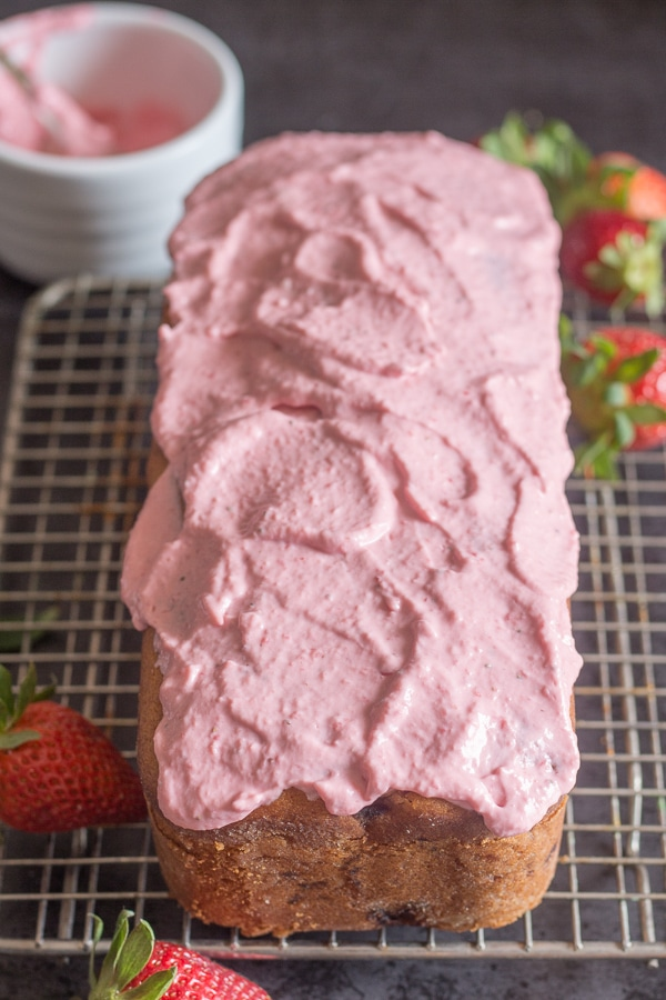 strawberry bread with strawberry cream cheese frosting