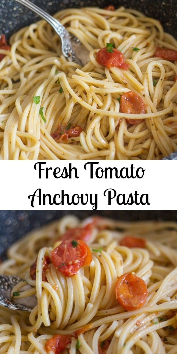 A fast and easy Fresh Tomato Anchovy Pasta (Spaghetti e Alici),  you will overcome your dislike for Anchovies once you have tried this Pasta Recipe.  Delicious. #pasta #anchovies #Italianpastarecipe #maindish #spaghetti #freshtomatoes #tomatoes