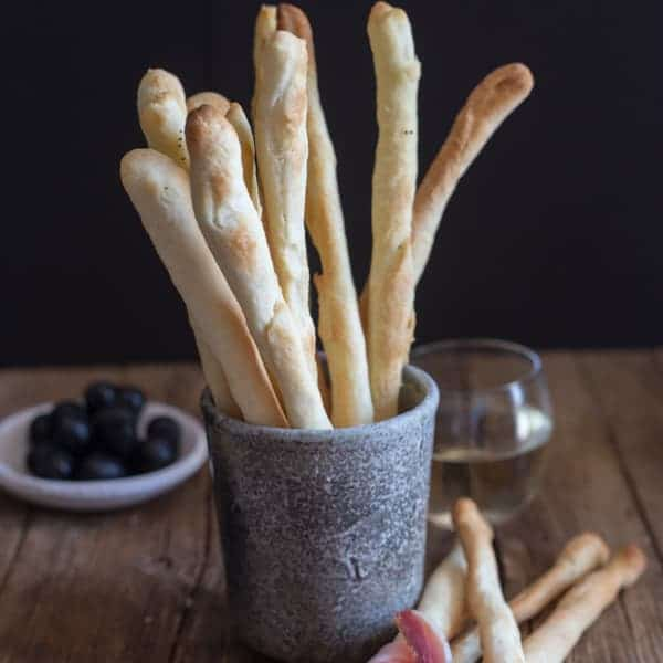 breadsticks in a cup