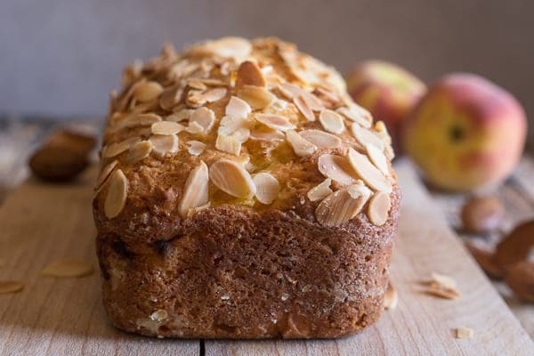 fresh peach bread with almond topping just baked