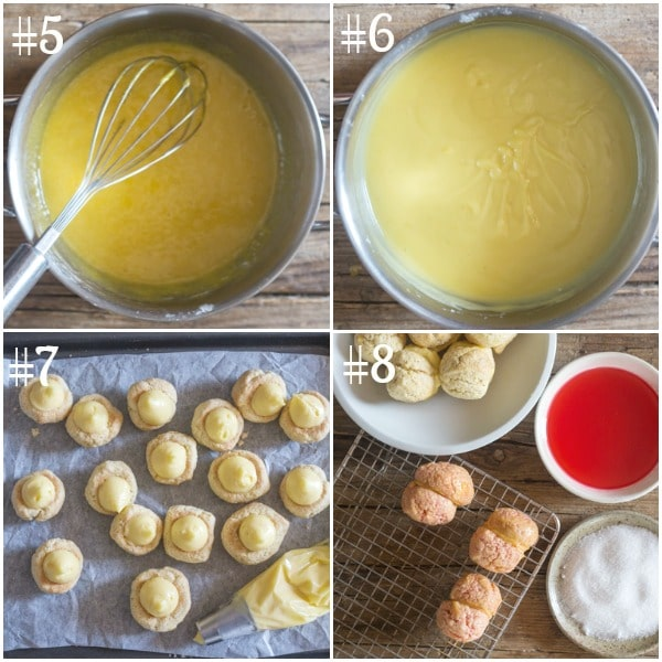 peach cookies how to make the pastry cream, filling the cookies putting the cookies together and dipping