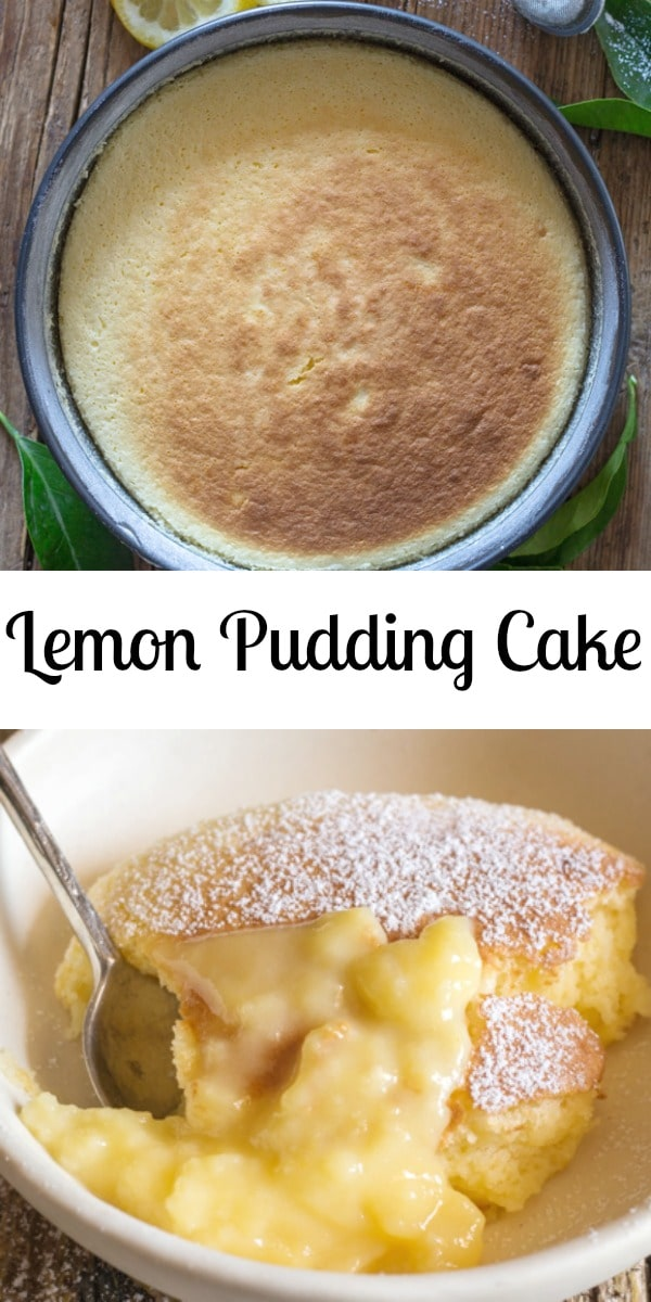 This delicious Homemade Lemon Pudding Cake makes the perfect dessert, no need for frosting it makes it's own topping. #cake #puddingcake #recipe #lemoncake #lemon #pudding #dessert