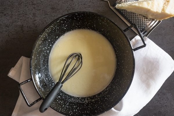 butter and parmesan mixed for alfredo pasta