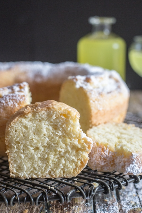 limoncello cake with a slice standing up