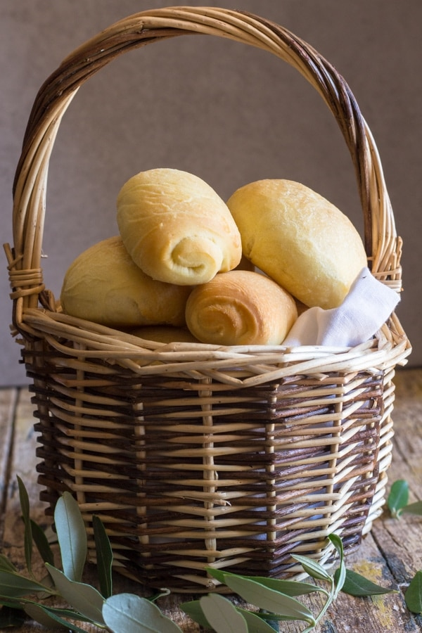 olive oil bread in a basket