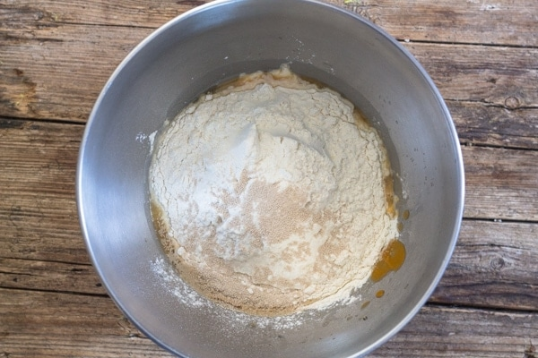 focaccia bread ingredients in a silver bowl