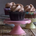 chocolate cupcake on a pink stand