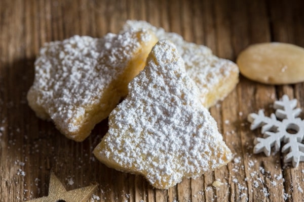 up close Italian almond cookie cut outs