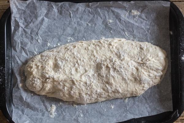 ciabatta bread ready for baking