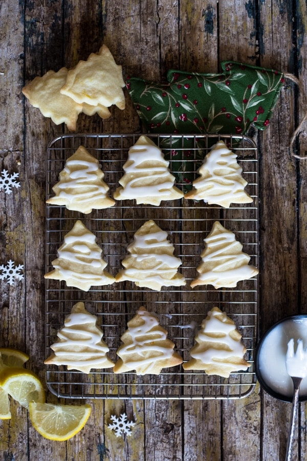 lemon shortbread cookies on a wire rack