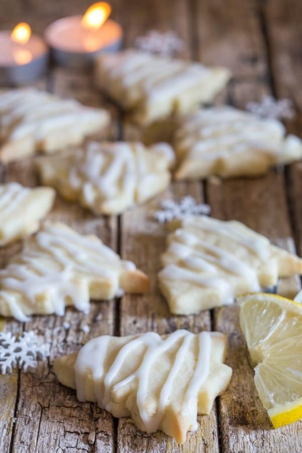 lemon shortbread cookies on a wooden board