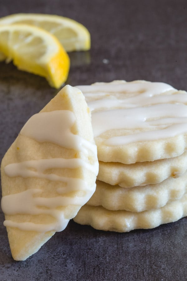 lemon shortbread cookies stacked