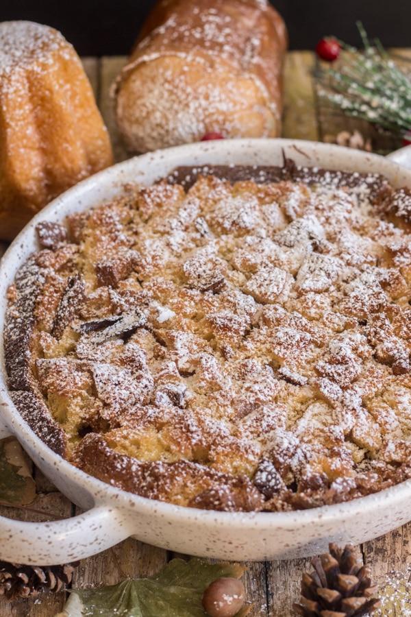 baked pandoro cake in a white pan
