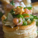 up close vol au vents filled with smoked salmon and parmesan