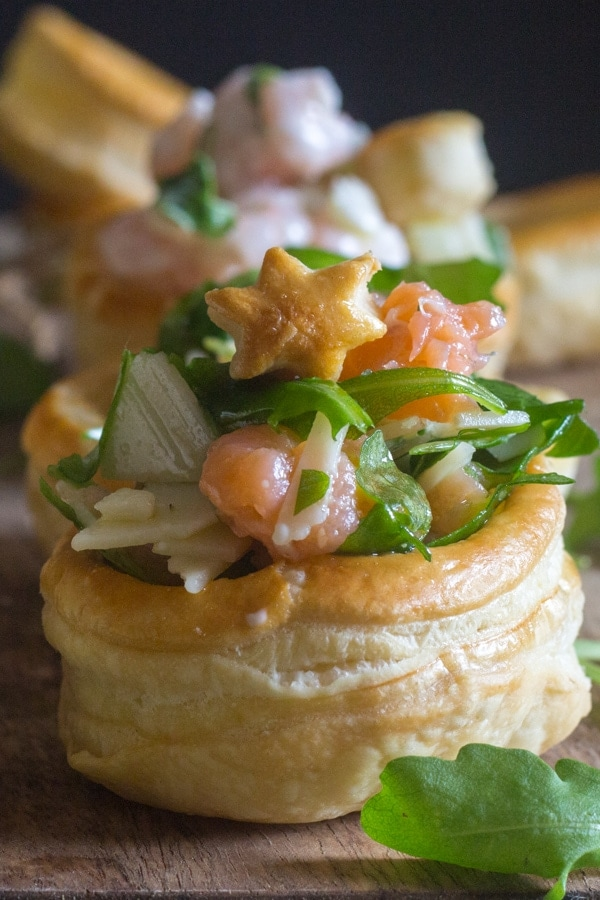 up close vol au vent filled with smoked salmon and parmesan