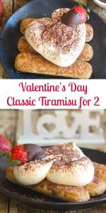 A classic Tiramisu becomes an easy made for two Valentine's Day dessert. A fast and easy dessert that is creamy and delicious. #tiramisu #Italiandessert #valentinesdaydessert #dessertfortwo #dessert #easydessert #nobakedessert
