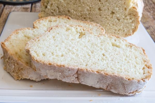 up close 2 slices of Irish soda bread