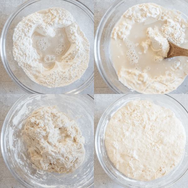 how make no knead pizza dough, mixing, resting and risen