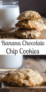 Too many ripe Bananas? Why not make these soft Banana Chocolate Chip Cookies.  These easy to make drop cookies will become everyone's new favourite! #bananachocolatechipcookies #bananacookies #cookies #chocolatechipcookies #pecancookies #snack