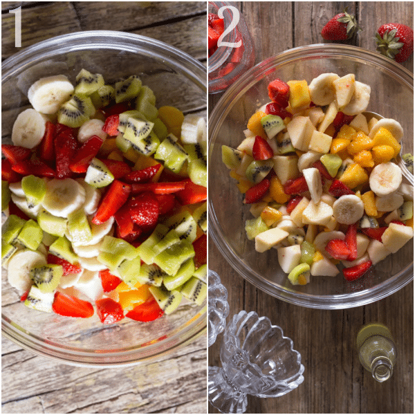 fruit salad chopped and mixed