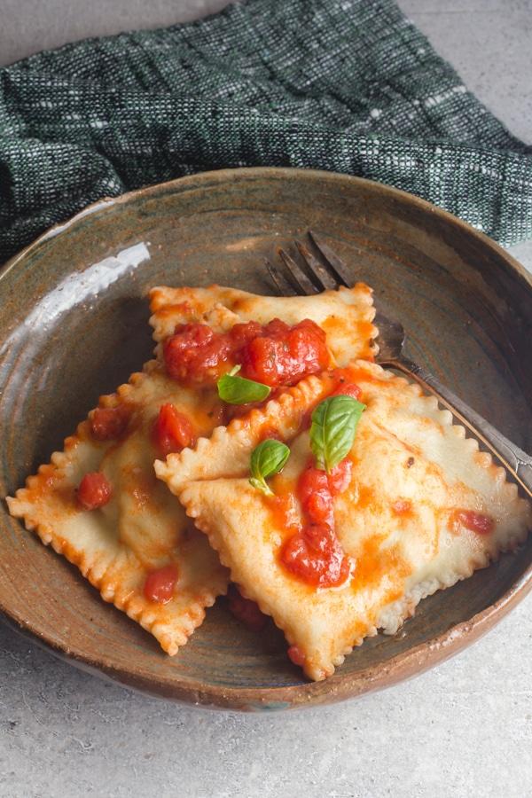 ravioli in a dish
