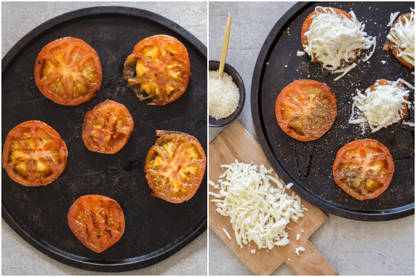 baked tomatoes how to make, grilled and sliced on a pan and topped with mozzarella and parmesan