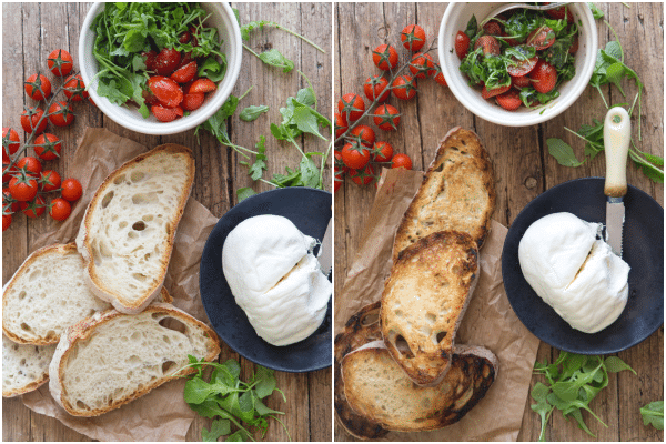 burrata bruschetta ungrilled bread and tomato mixture with burrata on a black plate and grilled bread
