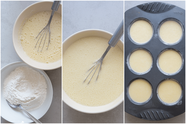 rice cakes how to make the egg mixture in a bowl and the whisked ingredients in a bowl, the batter, in the tins