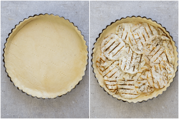 how to make eggplant pie, dough fitted in the pie plate, then a layer of eggplant slices
