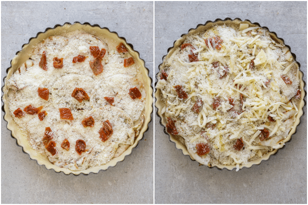 how to make eggplant pie, the ingredients layered and the pie ready for baking