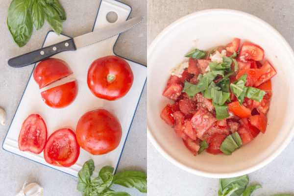 how to make pasta alla checca cut tomatoes and ingredients mixed in bowl