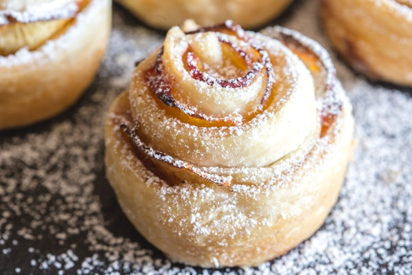 a puff pastry rose up close