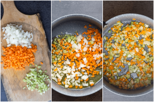 chopping and cooking the vegetables for bolognese sauce