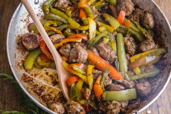 sausage and peppers in a pan