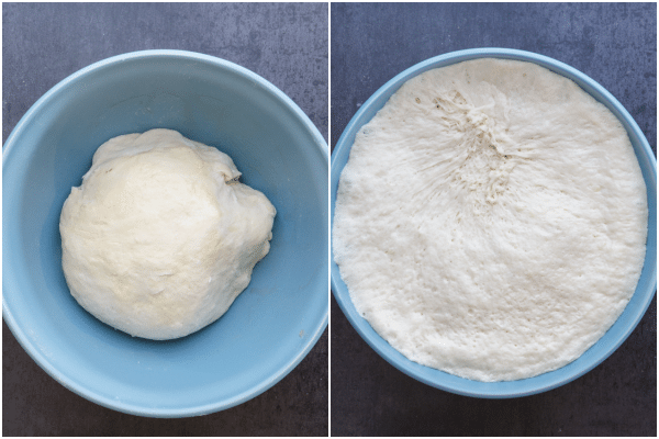letting the dough rise in a blue bowl before and after the rise