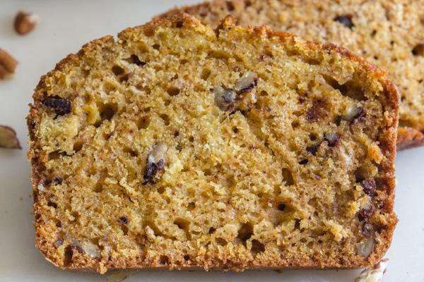 up close slice of pumpkin bread