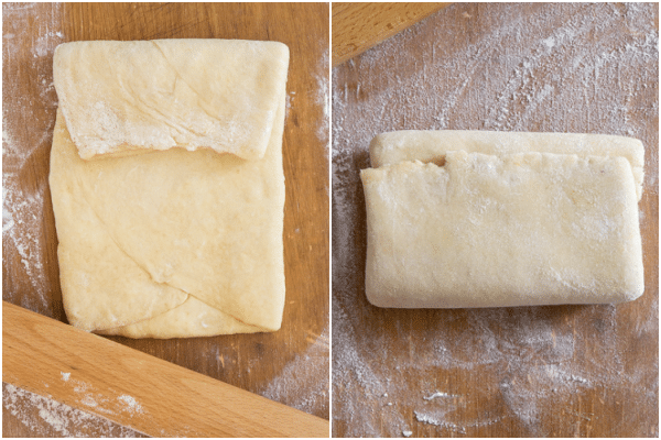 rolling the dough like an envelope two times