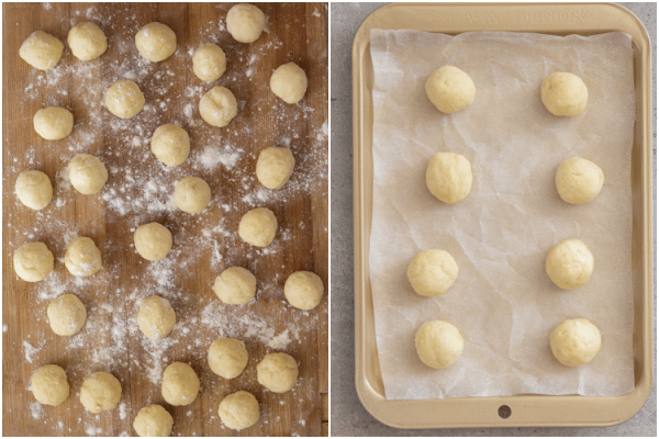 lots of dough balls on a board and 8 on a tray ready for baking