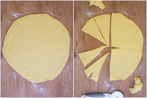 rolling out the dough to form a circle and cutting into triangle shapes