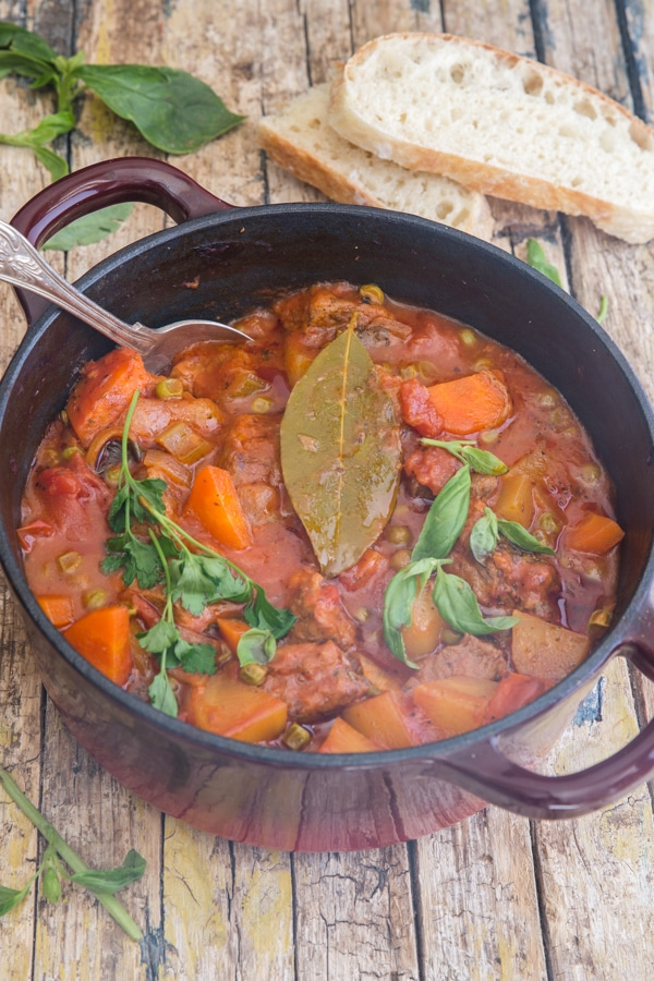 beef stew cooked in the dutch oven